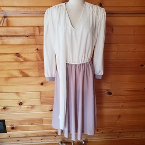1980s TF Ivory & Tan, Semi-Sheer, Polyester Dress